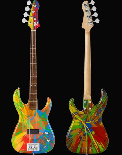 Colored Guitar by A Multi Color Spin Bass Guitar Signed By Damien Hirst And