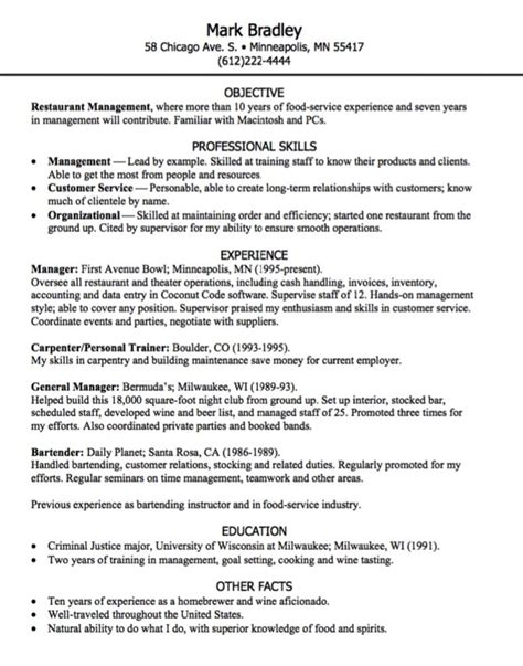 Restaurant Management Resume by 925 Best Exle Resume Cv Images On Resume