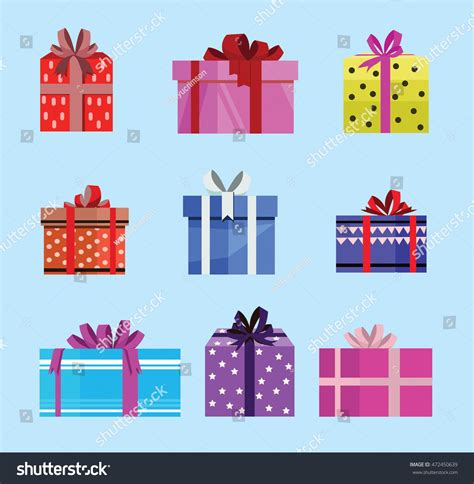 gift pattern vector gift box birthday set present different stock vector