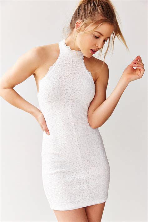 Halter Bodycon Dress lyst kimchi blue halter lace bodycon mini dress in white