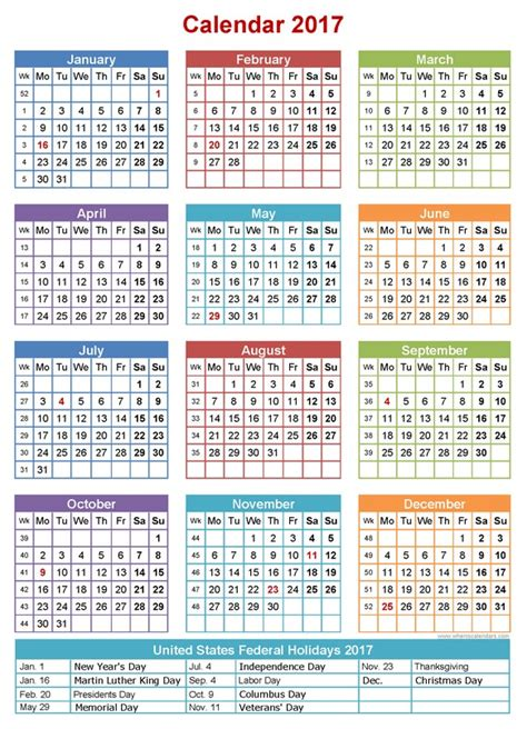 printable calendar 2017 one page 2017 calendar printable one page calendar template