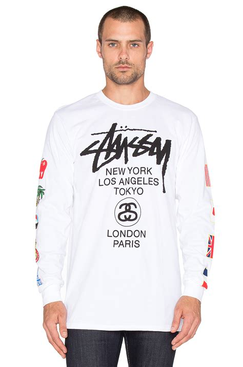 Blouse Flag C21 lyst stussy wt flags sleeve in white for