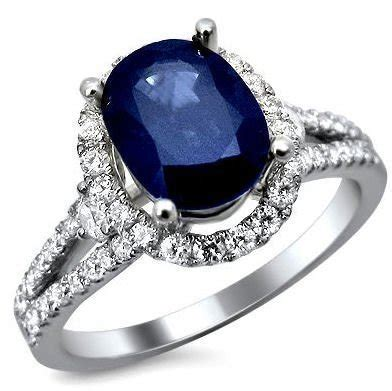 6 50ct Blue Sapphire 2 50ct oval blue sapphire and ring 18k white gold