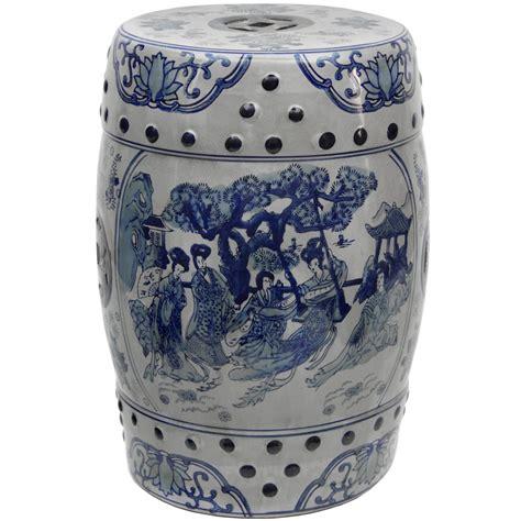 Blue White Porcelain Garden Stool by 18 Quot Blue White Porcelain Garden Stool