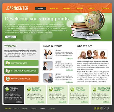 templates for learning website learning center html website template best website templates