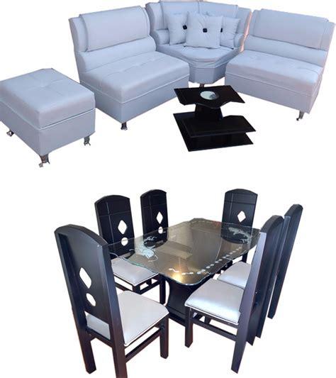 muebles de sala y comedor combo de sala y comedor de 6 puestos en madera y cuerotex