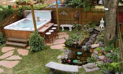 Backyard Spa Landscaping Ideas Backyard Deck Designs With Tub Landscaping Gardening Ideas