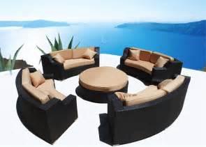 Modern savannah round wicker sectional sofa outdoor patio furniture