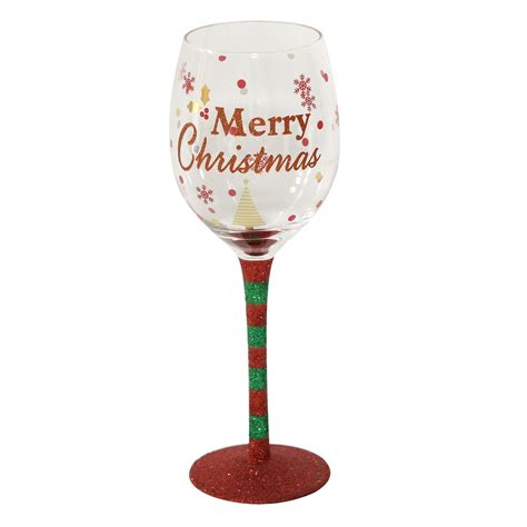 christmas wine glass merry christmas decorated