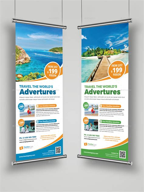 design banner travel travel roll up banner signage indesign template by
