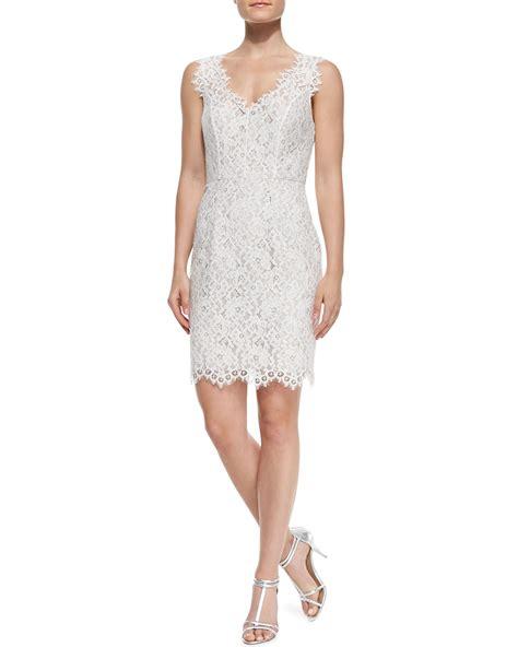 sleeveless lace cocktail dress lyst shoshanna sleeveless lace overlay cocktail dress in