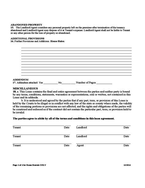 room rental agreement form room rental and lease sle form free