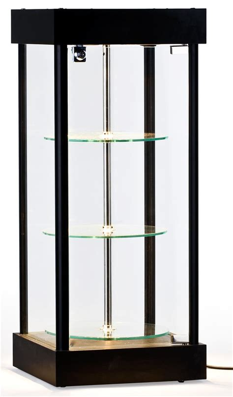 glass display cabinets with lights spinning glass display case halogen top lights
