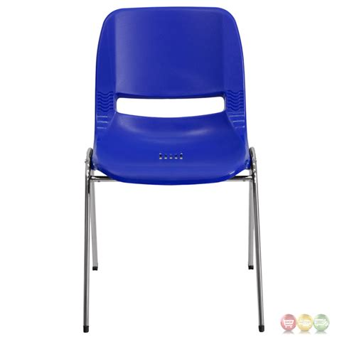 seat height navy ergonomic shell stacking chair with chrome frame and