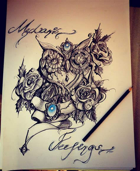 rose and owl tattoo owl roses by shitachi on deviantart