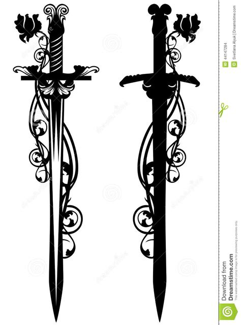 sword among roses stock vector image 44147284