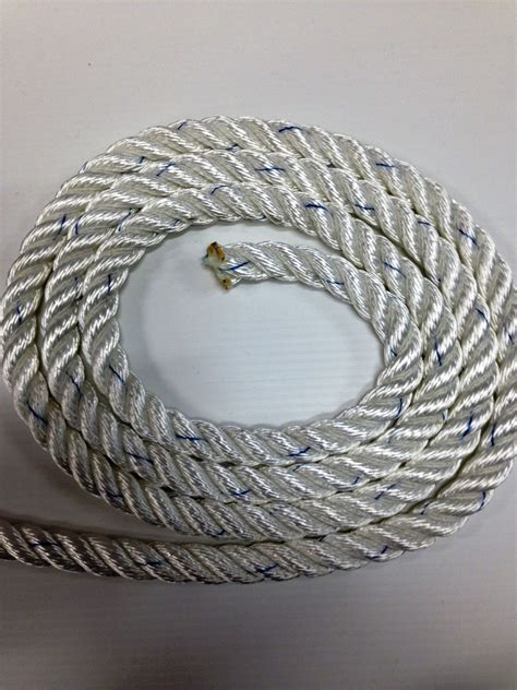 Tali Polyester Rope 12mm liros white polyester 3 strand rope anchor mooring line 14mm 12mm 10mm 8mm