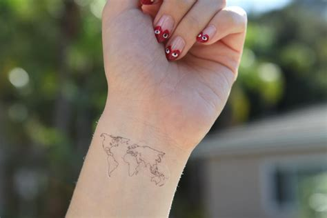 world map 3 medium spirit ink temporary tattoos by spiritink