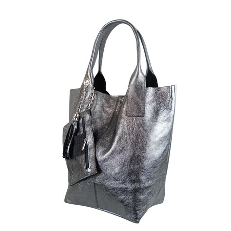 Tas Longch Cuir Ori 11 S taschen gro 223 handel s shoulder bag shopper in metallic look shm231