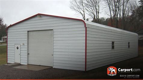 Garage Storage Roof Metal Garage With Regular Roof 24 X 36 Shop Metal