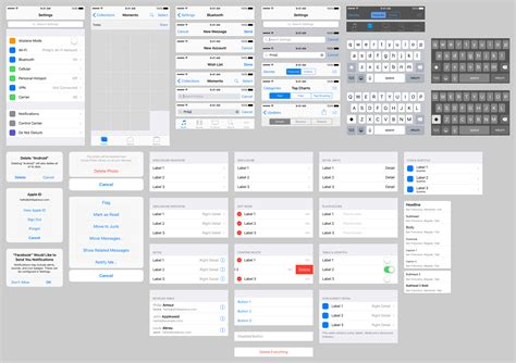 ios 9 ui kit template sketch resource for sketch image