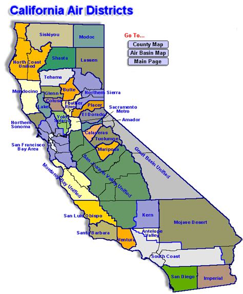 california map directions emissions by california air district