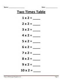 kids page 2 times multiplication table worksheet