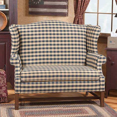 star homespun high wing back settee with rolled arms wingback settee with 30 fabric choices primitive ideas
