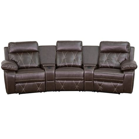 3 seat recliner home theater 3 seat leather reclining home theater seating in brown
