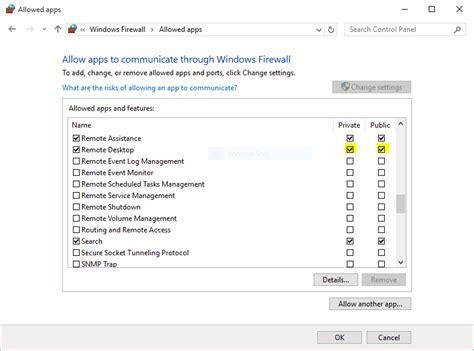 remote desktop firewall how to remote access windows 10 via ubuntu and vise versa