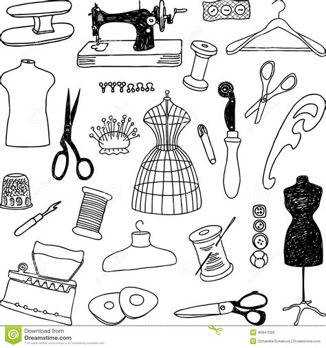 free doodle vector pattern sewing doodles stock vector image 46847509