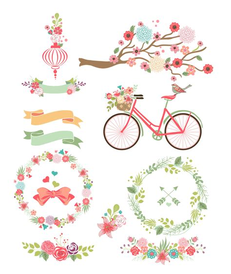 wedding banner png colorful flower frames bicycle and branches digital clipart