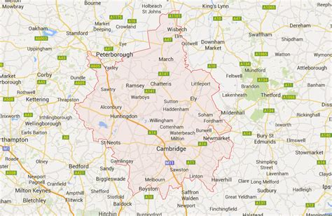 map of and surrounding areas aasp recovery breakdown recovery in peterborough