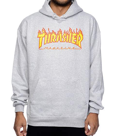 Hoodie Thrasher Jaket Thrasher Sweater Thrasher thrasher logo grey hoodie