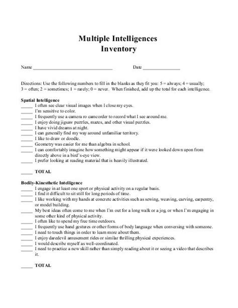 printable learning styles questionnaire 13 best images of learning styles inventory worksheet