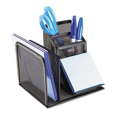 Wire Desk Accessories Wire Mesh Desk Organizer With Pencil Storage 5 3 4 X 5 1 8 X 5 1 8 Black