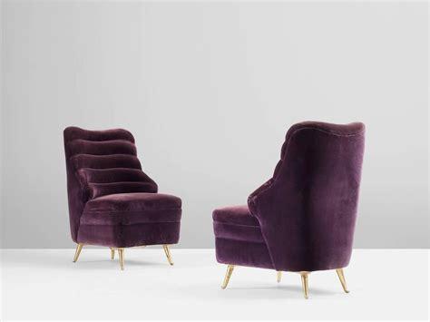 purple velvet chair pair of italian purple velvet lounge chairs at 1stdibs