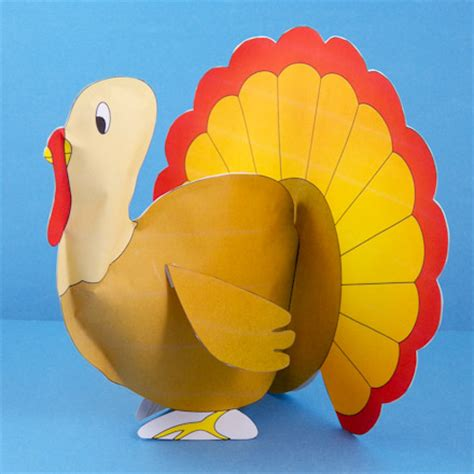 Paper Turkey Craft - how to make stuffed paper turkeys 3d paper crafts