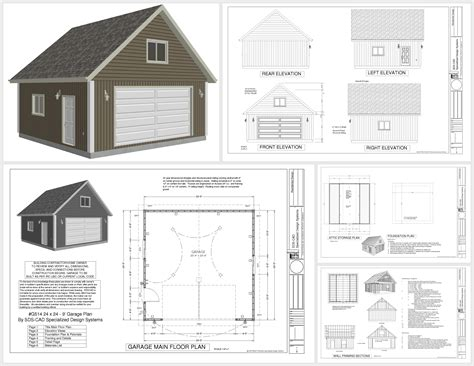 8 car garage plans g514 24 x 24 x 9 loft garage plans in pdf and dwg shops