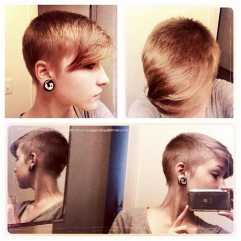 pinning back bangs in very short hair shaved pixie blended with long bangs extreme but it