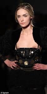 runway model wardrobe malfunction gemma kahng moment model s dress slips to reveal nipples