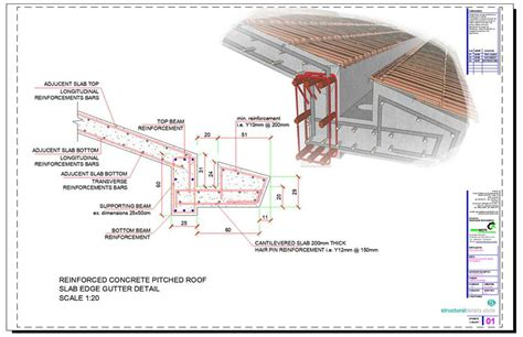 timber pitched roof detail concrete pitched roof slab edge gutter detail this is a