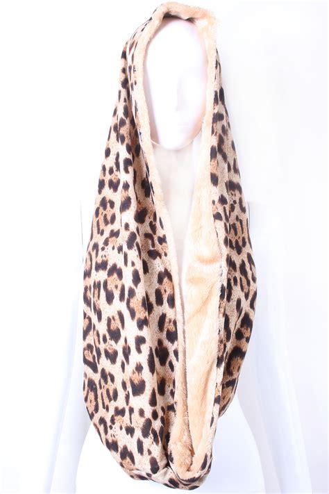cheetah print fur infinity scarf scarves