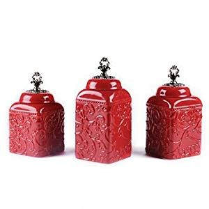 red ceramic canisters for the kitchen amazon com set of 3 french tuscan red swirl ceramic