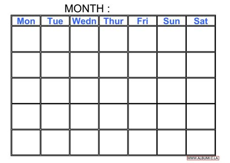 blank calendar template without dates blank calendar grid 2016 to print pdf and excel forms