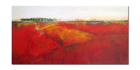 Abstract Landscape Uk Large Semi Abstract Landscape Painting Yellow Orange