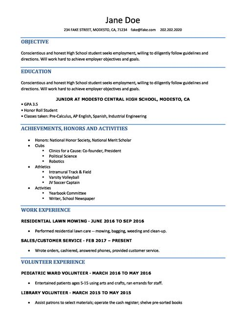 sample of high school student resume high school resume template