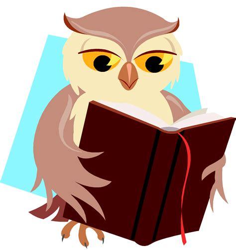 owl reading book smart owl clip art clipartion com