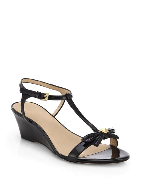 Kate Spade Wedges 1 kate spade new york donna patent leather wedge sandals in black lyst