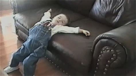 baby fell from couch and now some funny gifs of kids passed out in ridiculous